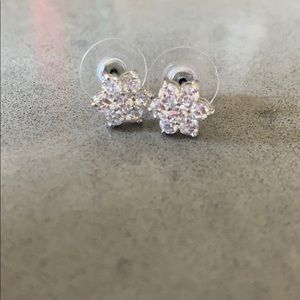 """Diamond"" flower earrings"